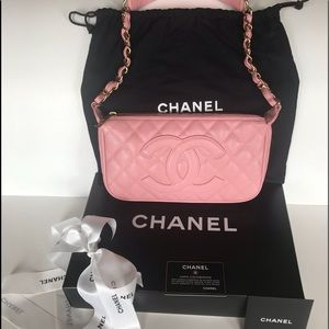 Auth. Chanel Vintage Pink Leather Clutch Bag